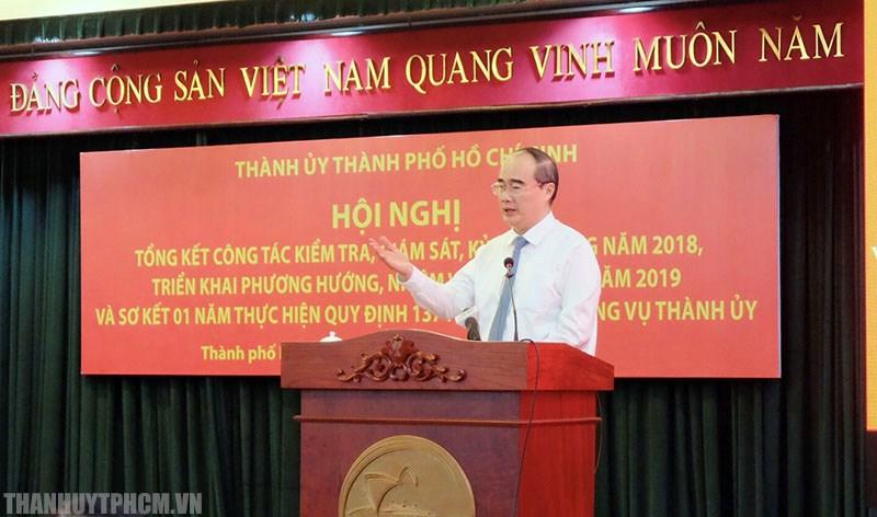 BÍ thư Thành ủy Nguyễn Thiện Nhân phát biểu chỉ đạo công tác kiểm tra, giám sát kỷ luật đảng