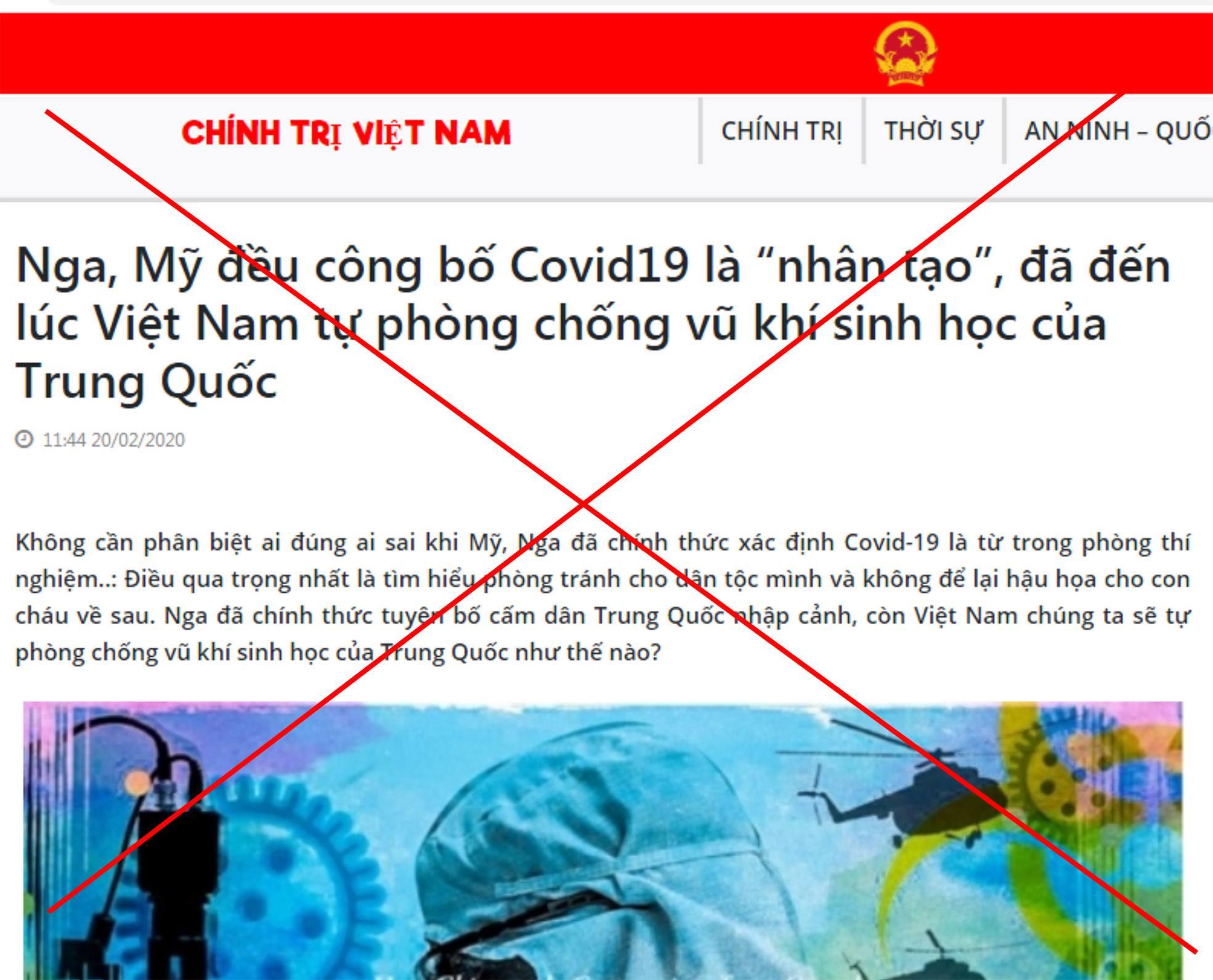 """Trang blog giả báo lấy tên là """"Chính trị Việt Nam"""" với tên miền là chinhtrivietnam.org có gắn quốc huy nhưng chuyên đăng tin giả."""